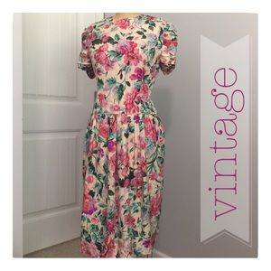 80's Vintage Silk Floral Dress. Size 12